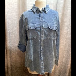 Signature 8 ladies corduroy button up blouse
